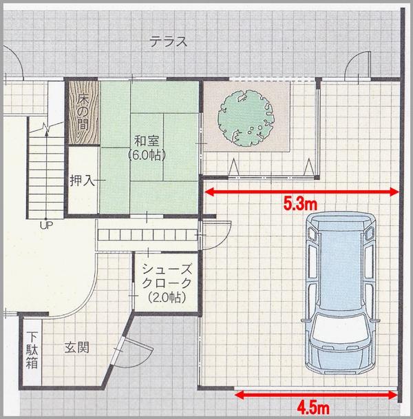 『RCの家』ガレージハウス平面図2