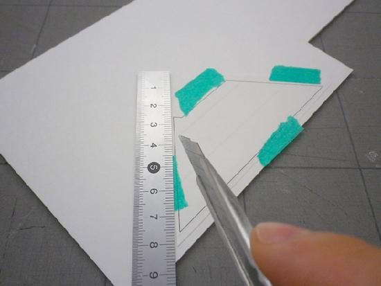 建築模型 スチレンボード仮留→丁寧に切り出し