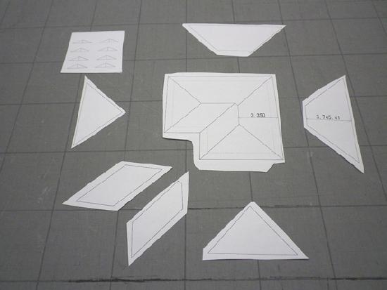 建築模型 余分目に切り離した下図