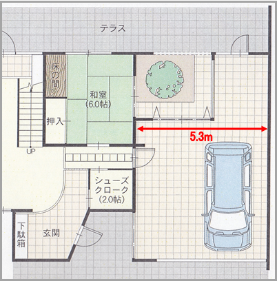『RCの家』ガレージハウス平面図