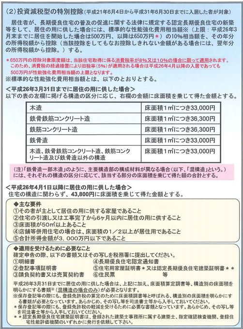 投資減税型の特別控除(認定住宅新築等特別税額控除)