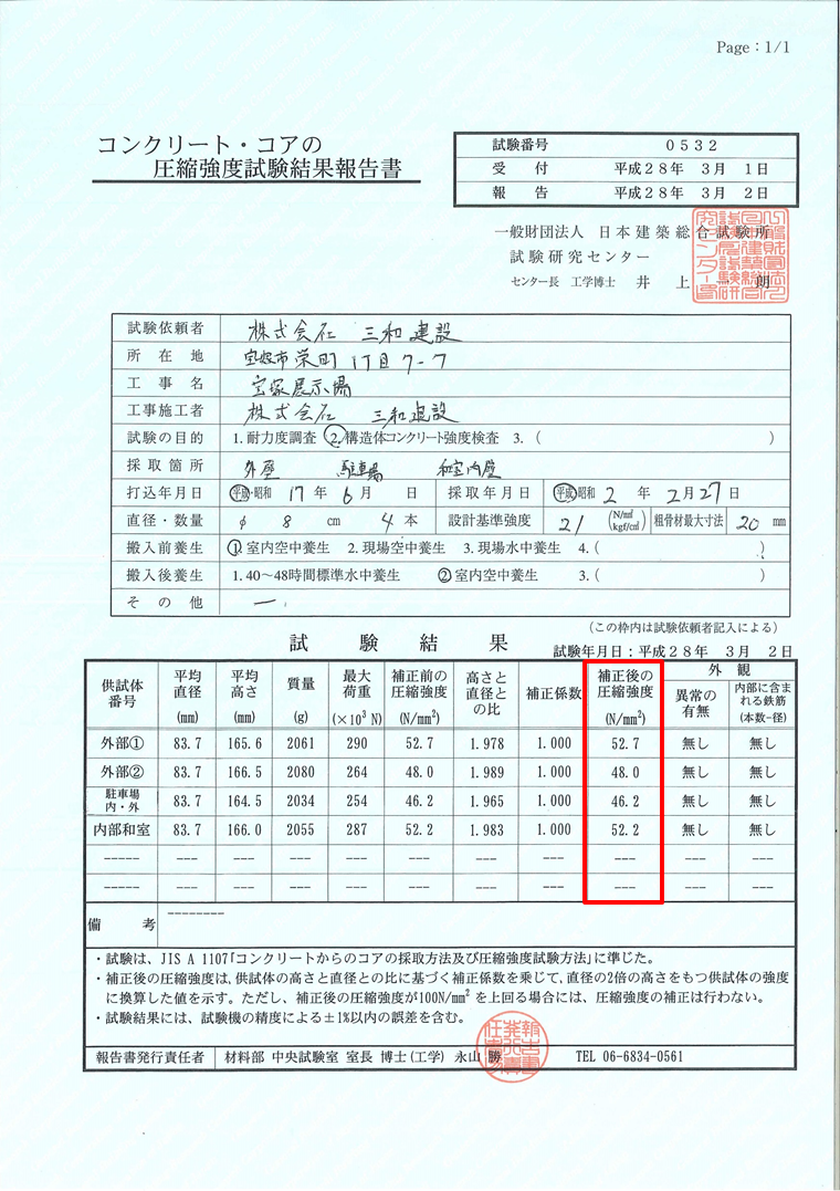 圧縮強度 試験結果報告書