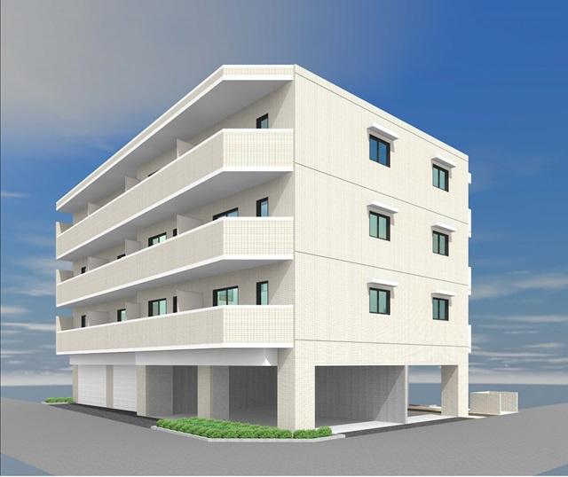 今津山中町でマンションを建築中