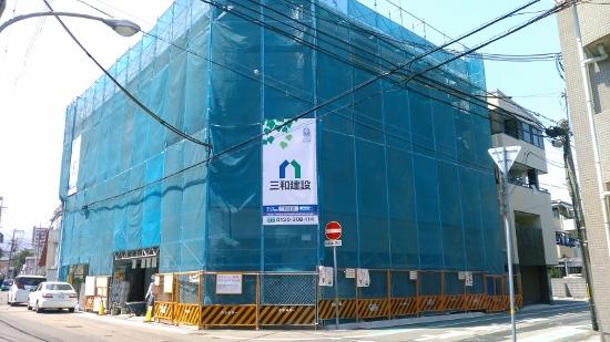 西宮市の今津山中町で建築中のRC造ラーメン工法4階建て