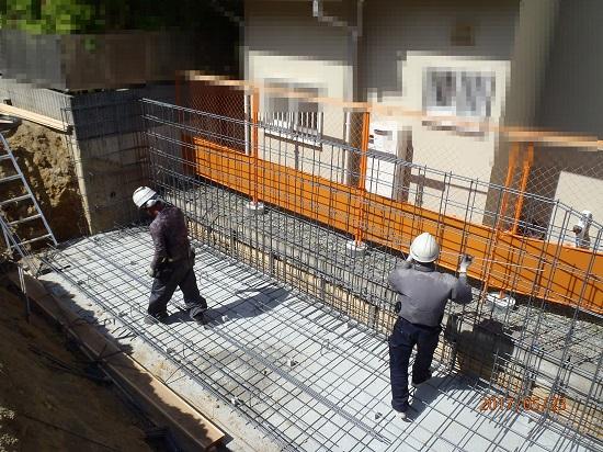 「芦屋の家」のL型擁壁工事の様子③