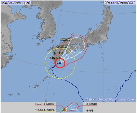 2017年8月7日台風5号進路
