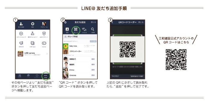 三和建設LINE@登録方法
