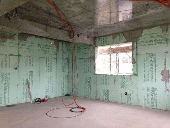 芦屋の3階建RC住宅の工事の様子