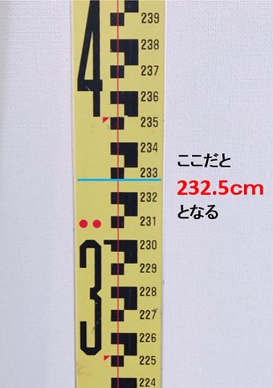 覗き穴に表示された水平ラインがどの目盛りを指しているかを測ります