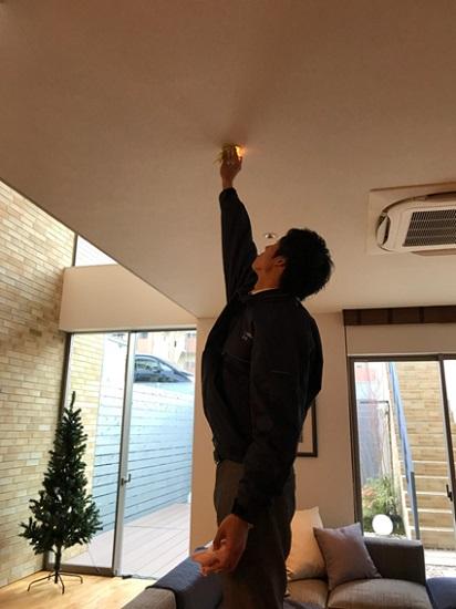 窓や照明等の高所部分を担当