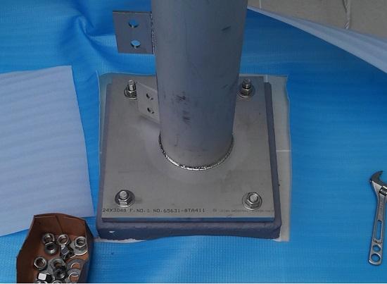土台と支柱の接合部分