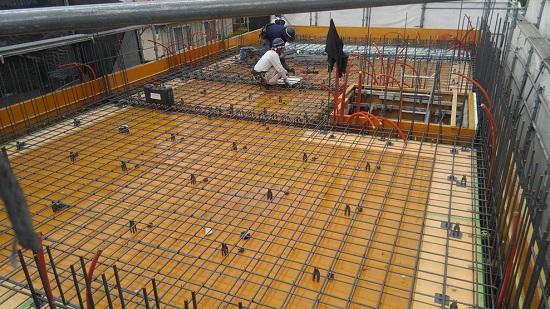 3階部分床にあたる2階スラブ配筋作業