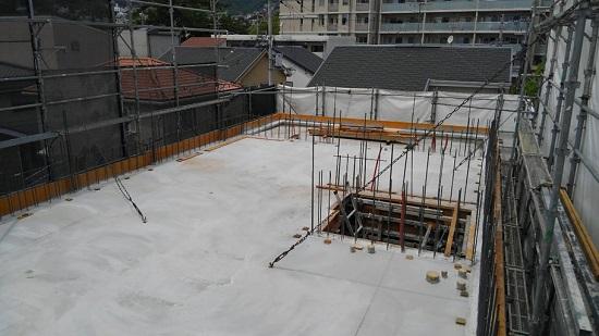GWの中日で2階壁と3階床部分のコンクリートを打設