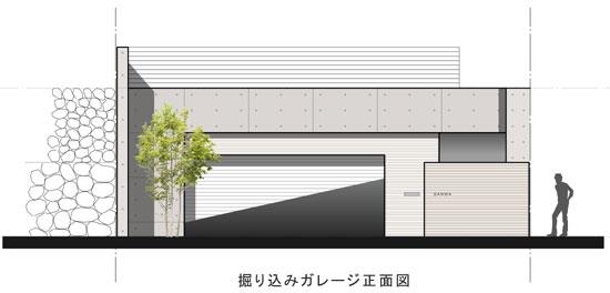 掘込ガレージのある家正面図