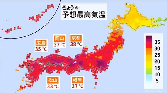 関西では今日も各地で35℃を越える猛暑日となるよう