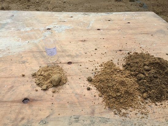 採取した土質と支持層の土質に相違がないかも確認