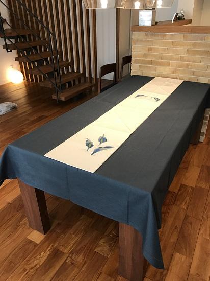 2019年夏のテーブル「藍色クロス&帯」